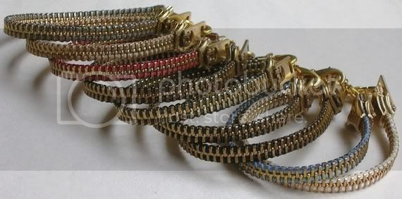 TWO Brass Zipper Bracelets